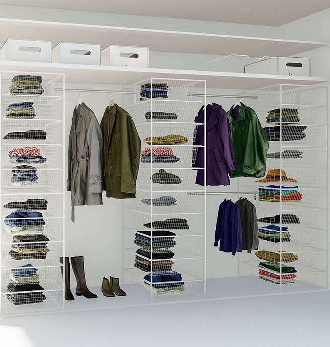 Innredningspakker med trådkurver og garderobestenger til fast lav pris