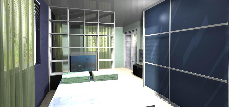 skyvedører med blått glass og profiler og sprosser i aluminium